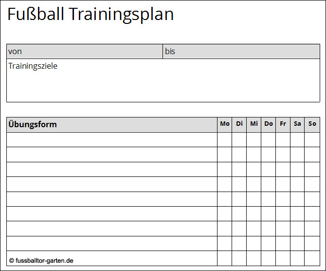 Trainingsplan Fussball
